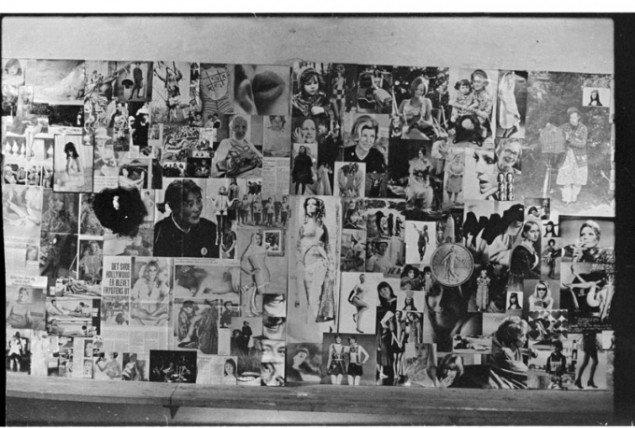Kirsten Justesens vægcollage på udstillingen Damebilleder i 1970.(Illustration fra bogen)