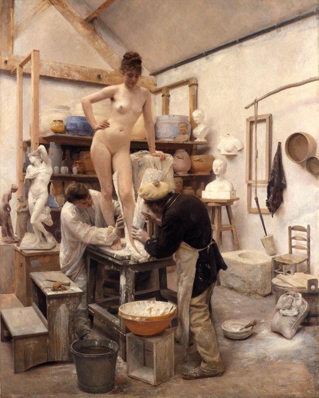 Édouard Dantan: Støbning efter levende Model, 1887, Göteborgs Konstmuseum. (Illustration fra bogen)