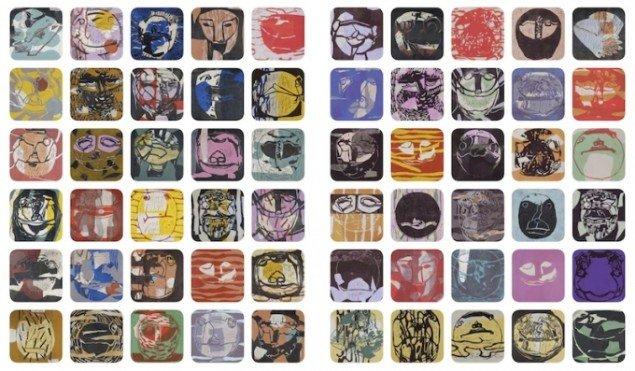 Pernille Kløvedal Helweg: Linoleumstryk på træfiner 27,5 x 27,5 cm, SKILDPADDE-ARKIVET, 2014. Foto: Torben Glarbo