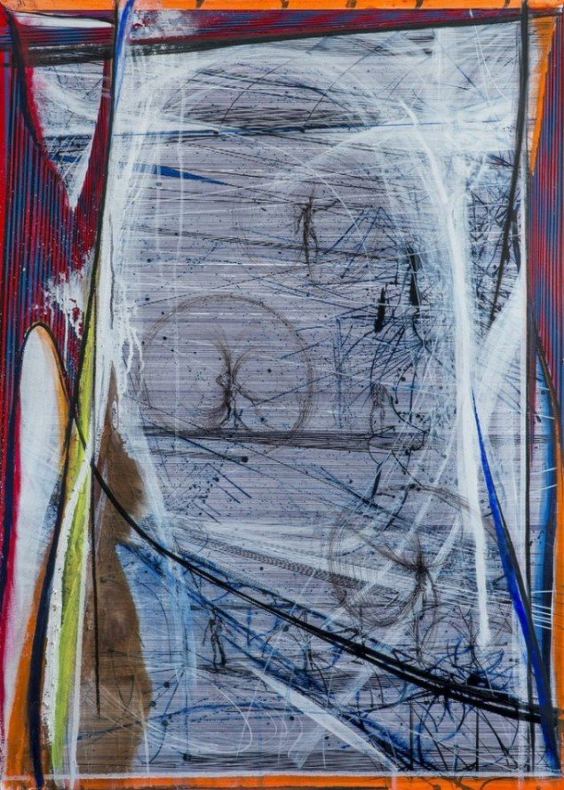 Ferdinand Ahm Krag: U.t., 2015, Bl.teknik på papir på aluminium, 100x70,5 cm. Pressefoto