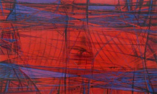 Ferdiand Ahm Krag: U.t., 2014,  Bl.teknik på træ, 150x250 cm. Pressefoto