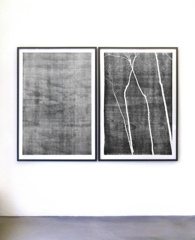 Installationsview: Anne Skole Overgaard: Træer, 2015, 2 træsnit. Gallery Hjort, Horsens til 21/3 2015. Foto: Anne Skole Overgaard