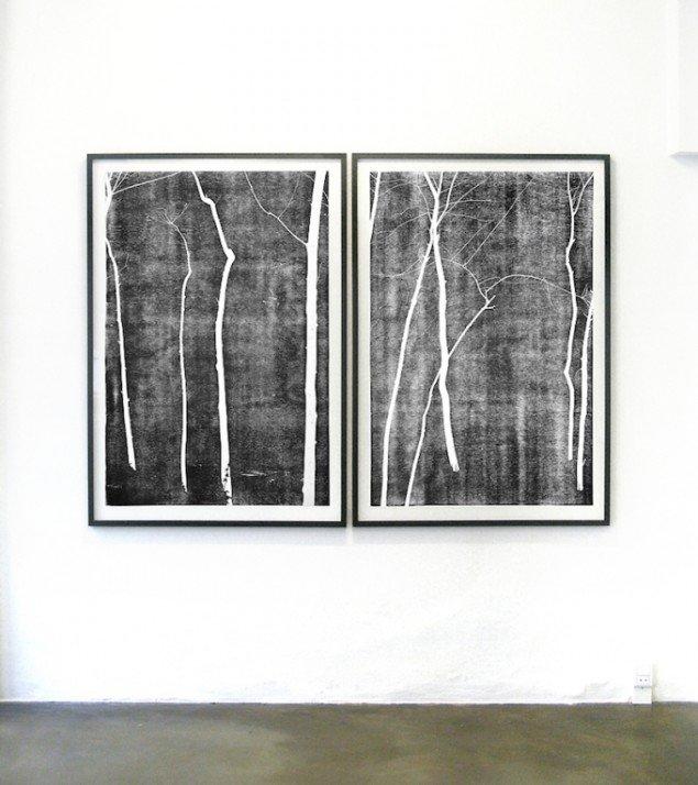 Installationsview: Anne Skole Overgaard: Træer, 2015, 2 træsnit. Gallery Hjorth, Horsens til 21/3 2015. Foto: Anne Skole Overgaard