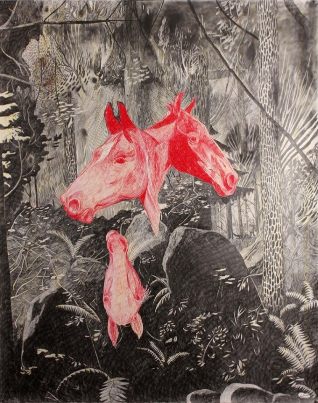 Morten Schelde: Horses, 2014. Blyant og farveblyant på papir, 150X120 cm. Courtesy: Galleri Susanne Ottesen