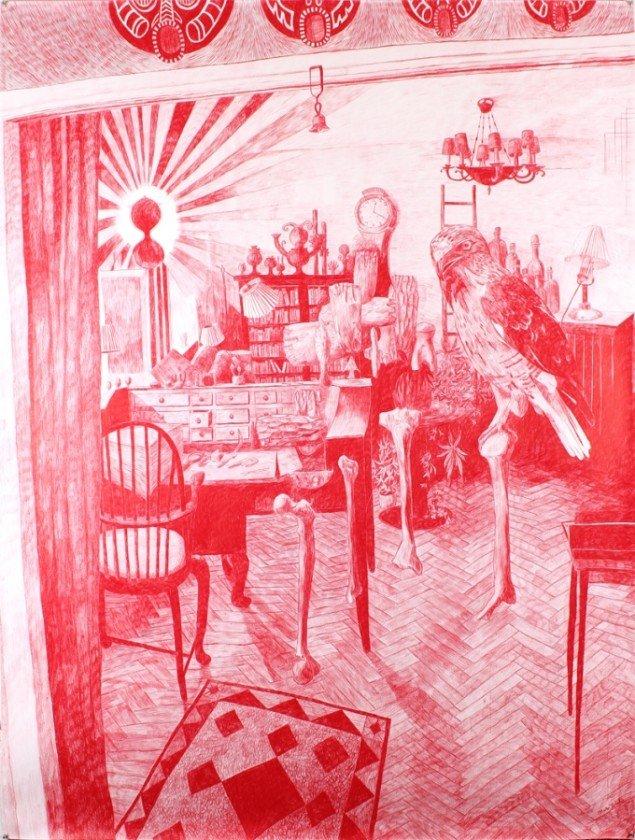 Morten Schelde: The Memory Palace II, 2013. Blyant og farveblyant på papir, 200 x 150 cm. Courtesy: Galleri Susanne Ottesen