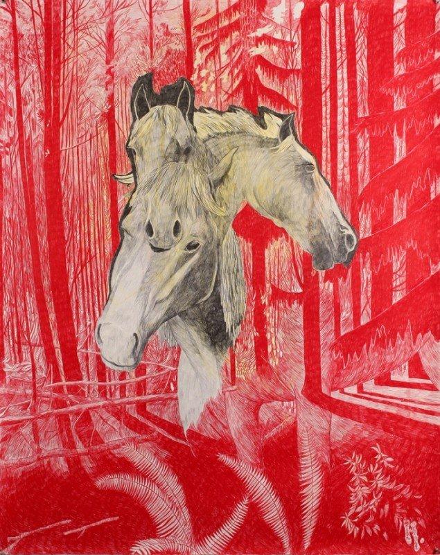 Morten Schelde: Red Horses, 2014. Blyant og farveblyant på papir, 150X120 cm. Courtesy: Galleri Susanne Ottesen