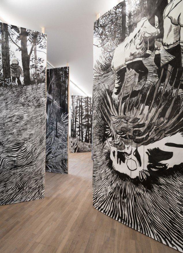 Installationsview. Morten Schelde: Red Noise Meditation, 2014. Courtesy: Galleri Susanne Ottesen. Foto: Kurt Nielsen
