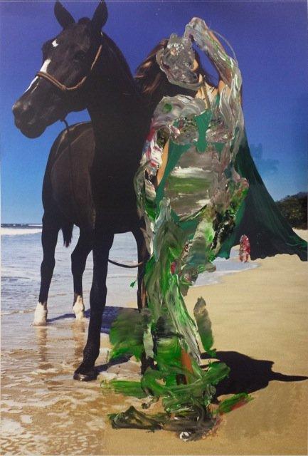 Sofie Bird Møller: Interaktion, 2014, akryl på reklameplakat, 180 x 120 cm, courtesy Martin Asbæk Gallery