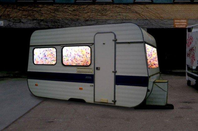 Spanske Pablo Serret de Ena vil omdanne en af festivalens mange campingvogne til en aldersfornægtende konfetti-drøm. (skitse til projektet)