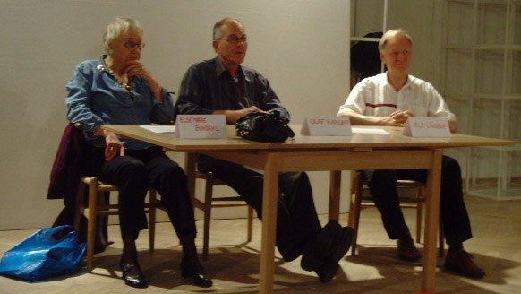 Debatpanelet under diskussionen af centraliseringen i dansk kunstliv. Foto: Pernille Rom Bruun
