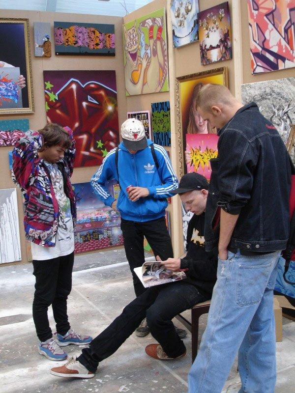 De flygtige og knap så traditionelle kunstarter finder typisk vej til Alt_Cph. Her grafitti under Alt_Cph i 2006. Pressefoto/Alt_Cph
