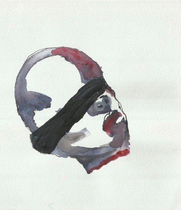 Haider Jabbars akvarel i serien Case 1013 i Den irakiske pavillon. (labiennale.org)