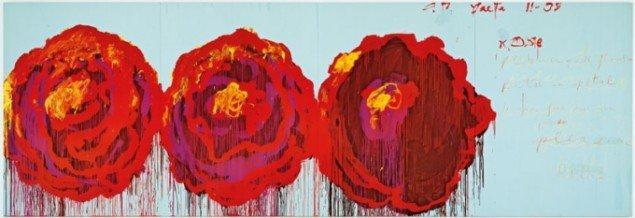 Cy Twombly: Rose, olie på lærred, 2008. (MUVE – Fondazione Musei Civici Venezia)