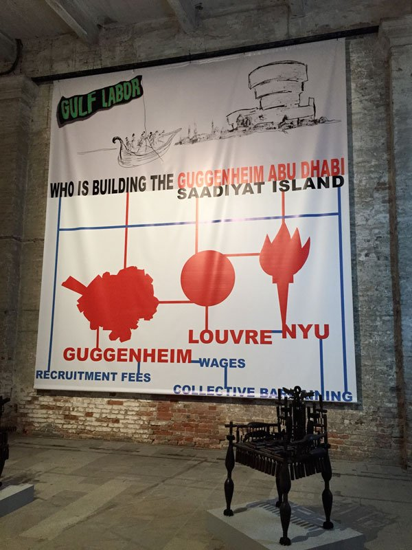 Gulf Labour Coalition: Who is Building the Guggenheim Abu Dhabi. (Foto: Judith Schwarzbart)
