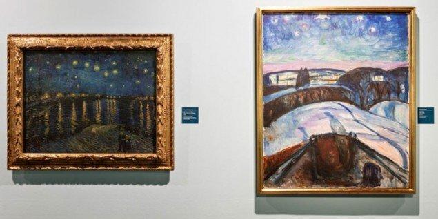Vincent van Gogh: Starry Night over the Rhone 1888, og Munch: Starry Night, 1922-24. (Pressefoto, Munch Museum)