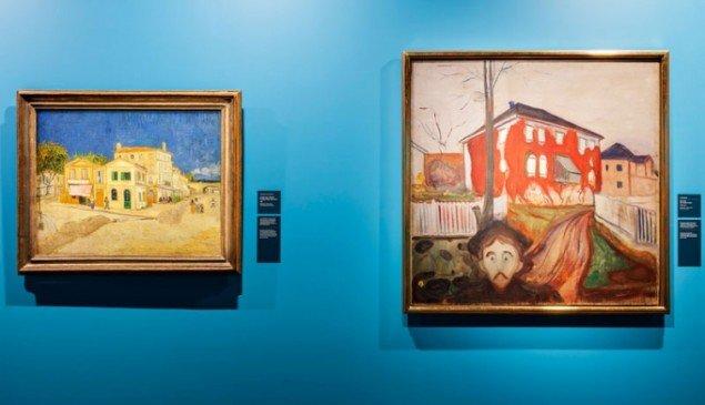 Stærk sammenstilling: Van Gogh: Det Gule hus, 1888 og Munch: Rød Vildvin, 1898-1900. (Pressefoto, Munch Museum)