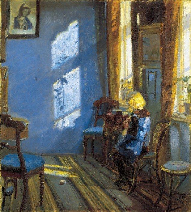 Anna Ancher: Solskin i den blå stue, 1891. Skagens Museum. Udstillingsview