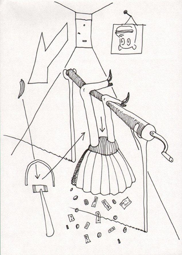 Pengepige, 29,7 x 21 cm, tusch på papir, 2014. Privateje. Scanning: Lars Nørgård