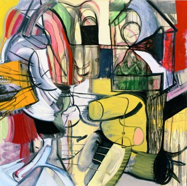 Grådige eks-kærester, akryl og olie på lærred, 2001. Tilhører kunstneren. Foto: Simon Lautrup