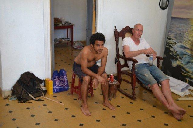 Odey Curbelo Urquijo og Peter Bonde under tilblivelsen af en række fællesværker. Foto: Marie Kirkegaard
