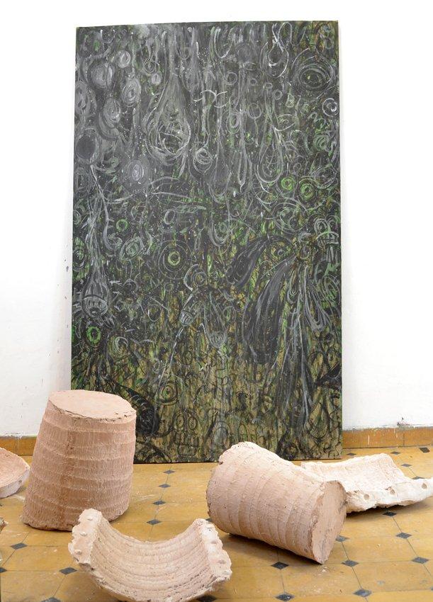 Anders Brinch: Broken Palmtree (forrest) og No Problemas, 2015. Foto: Marie Kirkegaard