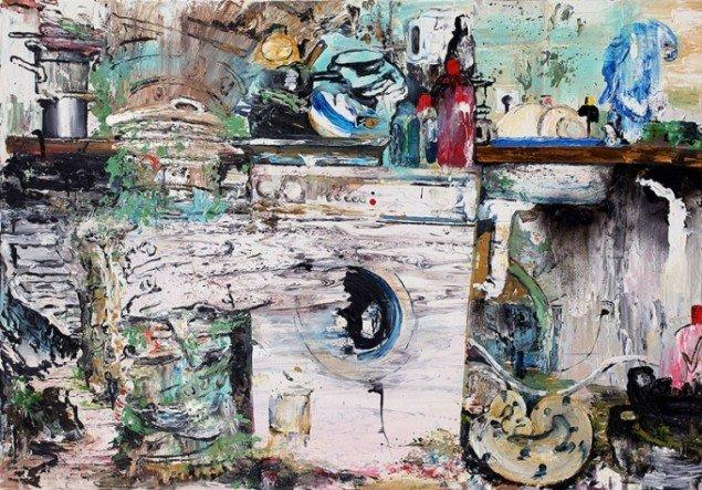 Mie Mørkeberg: Uden titel (Vakuum). 2013, olie og akryl på lærred, 90 x 130 cm.