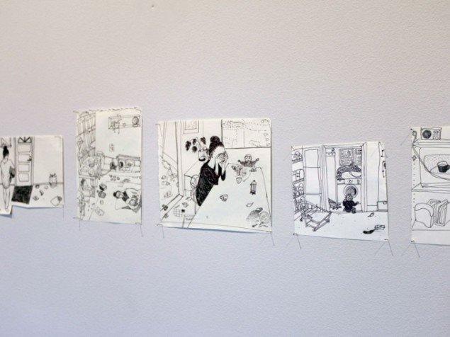 Johanne Helga Heiberg Johansen: Dear Frida, Tusch på papir. (Foto: Det Fynske Kunstakademi)