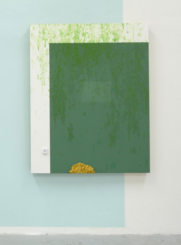 Torben Ribe: O.K., 2010.  Acrylmaling, glasvæv, spånplade, telefonstik, læder. 154 x 122 cm. (Foto: Anders Sune Berg)