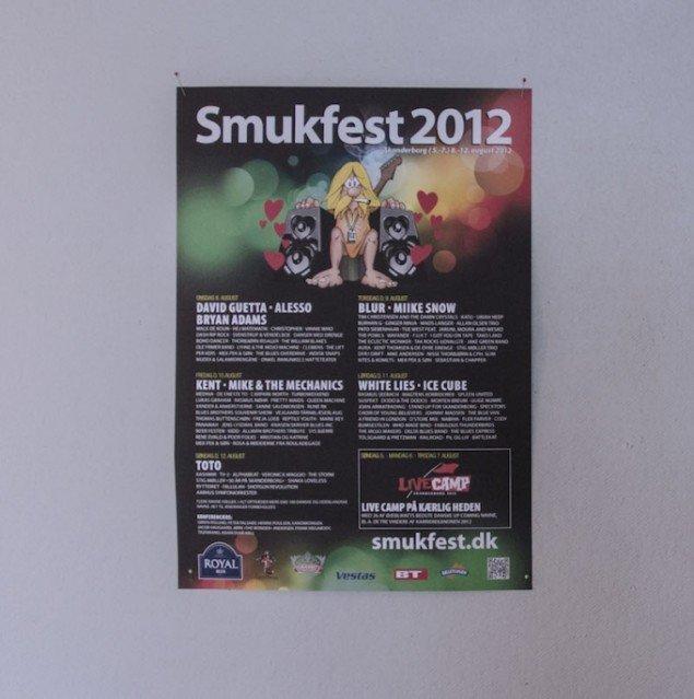 Line-up. Plakat fra SMUK-fest 2012. Foto: Morten K. Jacobsen
