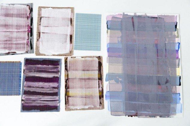 Forlæg til Cross Roads/Scott og tekstilprøve fra Kvadrat samt arbejdsprøver fra Vibeke Rohlands værksted. (Foto: Kirstine Autzen)