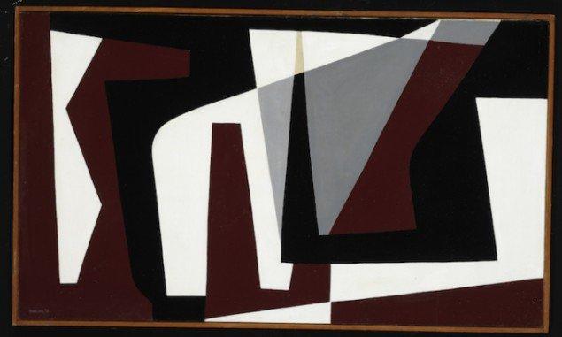 Preben Hornung: Konkret Komposition nr. 2, 1950, olie på lærred, Sorø Kunstmuseum. Foto: Bruun Rasmussen Kunstauktioner