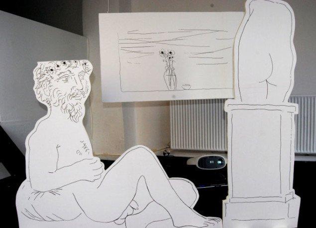 Maja Gades nyfortolkning af Picassos radering Billedhugger og liggende model. Foto: Gitte Le
