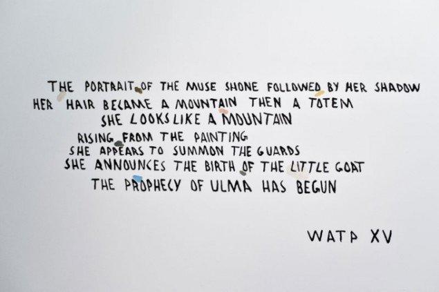 Den rituelle tekst, der introducerer til værk og performance af We Are The Painters. (Foto: Martin Kurt Haglund)