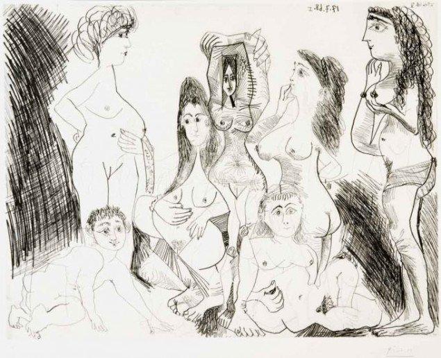 Villige, nøgne kvinder i alle afskygninger byder sig kritikløst til på ARKENs udstilling. Pablo Picasso: 25. juni 1968 V (fra 347 Gravures), 1968. Foto: © The Israel Museum, Avshalom Avital