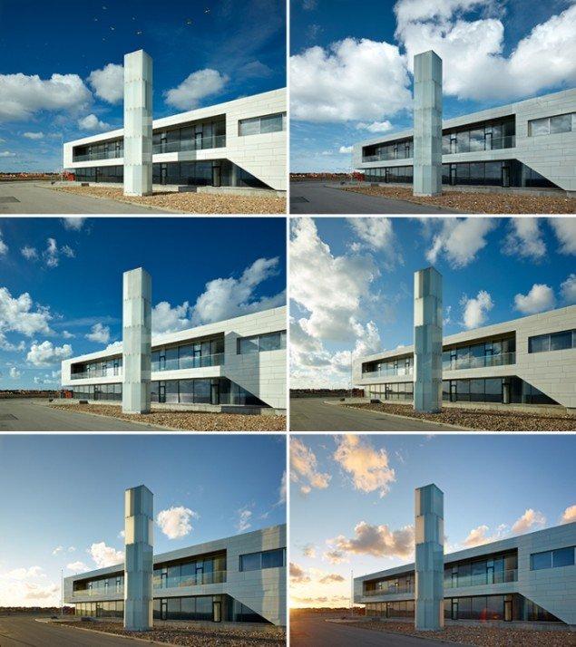 Light Tower, 2013, Skipperskolen, Skagen. 5-etagers tårnkonstruktion bestående af 48 kamre omsluttet af translucent glas. I kraft af dagslysets skiften transformerer tonaliteterne i glassene sig. Foto: Adam Mørk