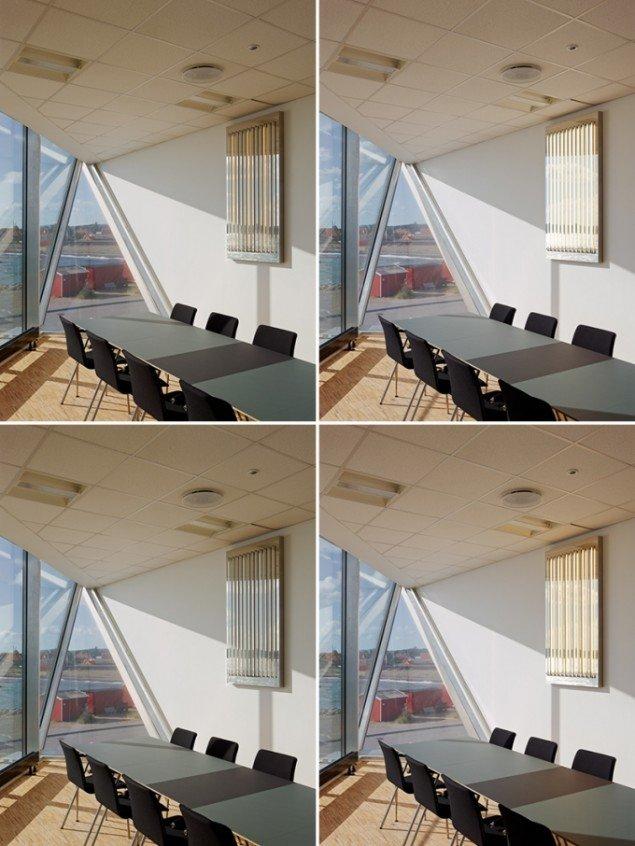 Time Light, 2013, Skipperskolen, Skagen. Dagslyspaneler installaeret i gangareal og møderum. Panelerne simulerer i realtid lysforholdene ombord på containerskibet Edith Mærsk. Foto: Adam Mørk