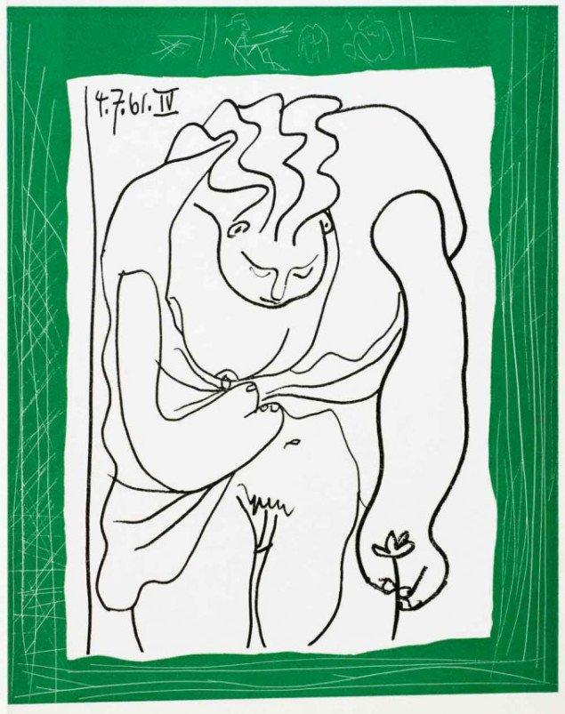 Kvindens essentielle karakteristika: bryst og blomst. Pablo Picasso: Ramme til en tegning til Madoura, 1962. Foto: © The Israel Museum, Avshalom Avital