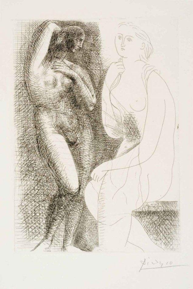 Overlegen leg med flere stilarter, men altid samme tema. Pablo Picasso: Nøgen kvinde ved statue, 1931. Foto: © The Israel Museum, Avshalom Avital