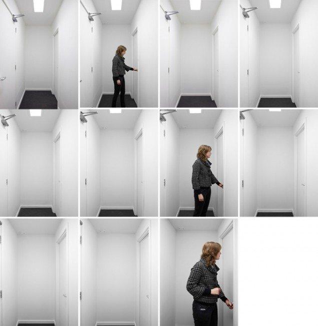 Hitchcock Hallway, 2010. Installation bestående af 11 fortløbende rum, hvis volumen gradvist reduceres. Fra udstillingen Hitchcock Hallway, IKON Eastside, IKON Gallery, Birmingham, UK: Foto: AVPD + Stuart Whipps