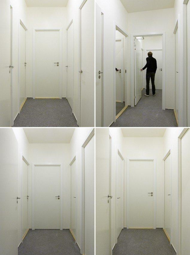 Passage, 2007. Modificeret toiletområde bestående af fire identiske korridorer. Karriere, København, DK. Foto: Anders Sune Berg