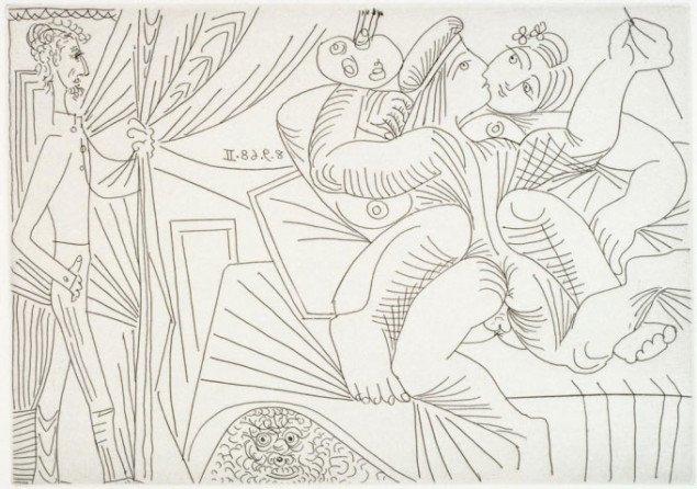 Kunstneren boller med motivet, mens beskueren er voyeur. 8. september 1968 II (fra 347 Gravures), 1968. Foto: © The Israel Museum, Avshalom Avital