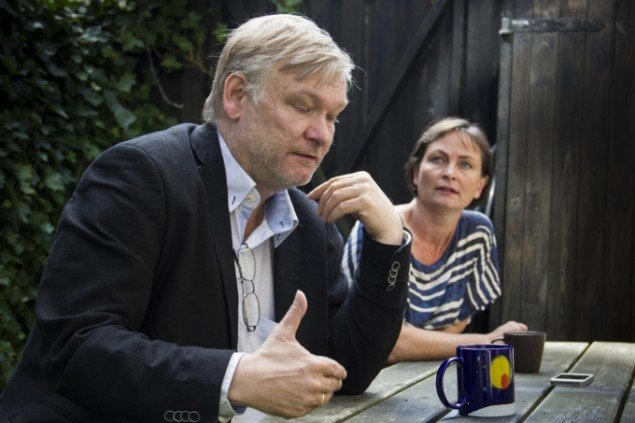 Julie Nord & Peter Land i samtale på Charlotte Fogh Gallery. Foto: Frederik Bo Juhl Kristensen