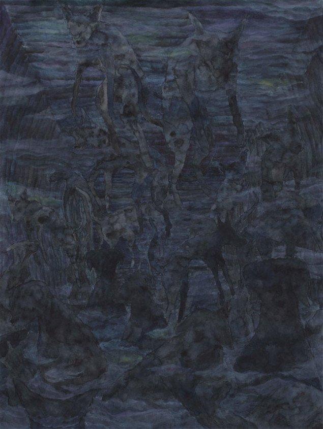 Born Blind #2, 2013. Akvarel og akryl på papir.