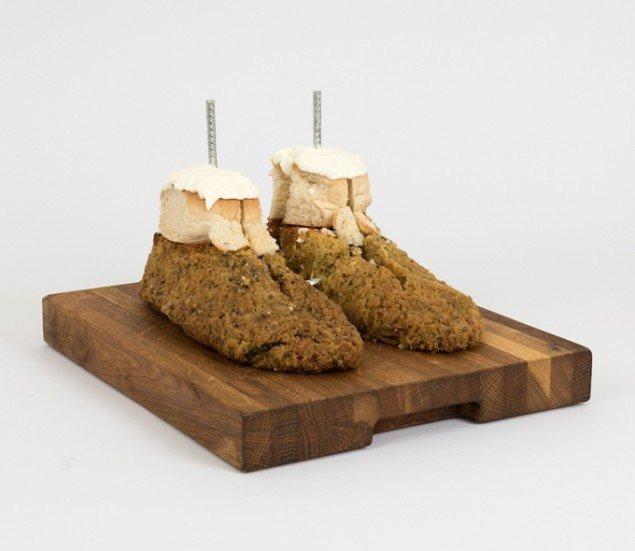 Zuchinnifødder med muskatnød, 2015. Fra udstillingen Menu (Konsistens og assimilation). Foto: David Stjernholm