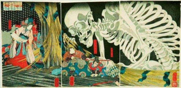 Forhistorisk manga eller japansk træsnit? Mitsukuni bekæmper skeletspøgelse, Utagawa Kuniyoshi (1798-1861), 1845, Foto: Pressefoto