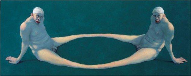 Michael Kvium: Double Pain, 1995, olie på lærred. 165 x 165,5 cm.