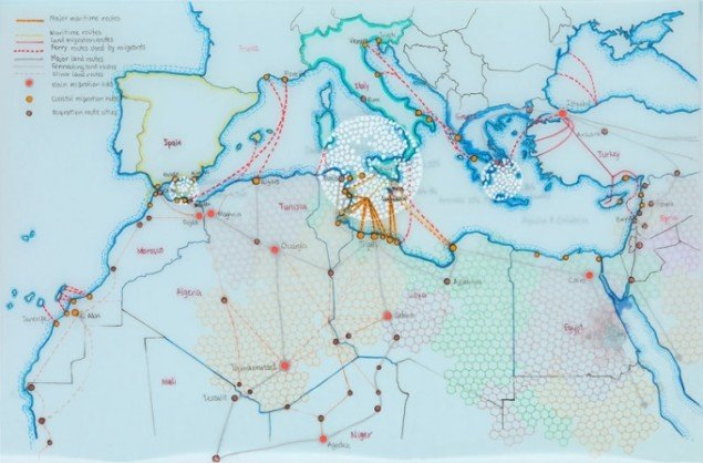 Tiffany Chung: Mediterranean deaths through key migration routes to Europe (as of 01 Sept 2015), 2015.