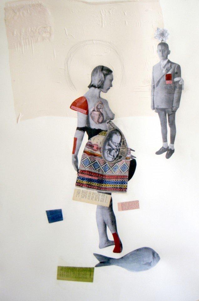 Augusta Atla, I AM LOVE, 2012. Collage og blæk på papir. 80x120cm. Unique. Courtesy of Horsens Kunstmuseum.