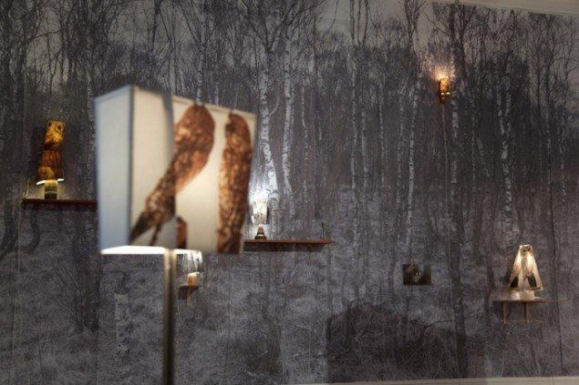 HUMAN SITES sohn+isaksen: Birkeskov og fem uglelamper. Foto: Else Ploug Isaksen