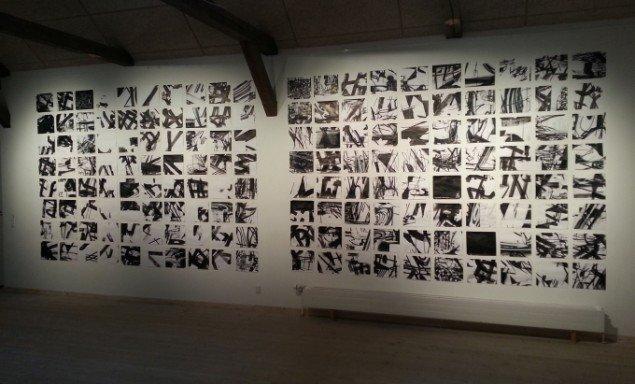 Anders Reventlov: Tecken 160 tusch tegninger. Foto: Ole Bak Jakobsen